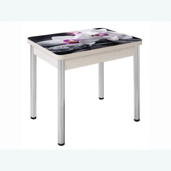 Стеклянный раздвижной стол Вероника с фотопечатью белая орхидея