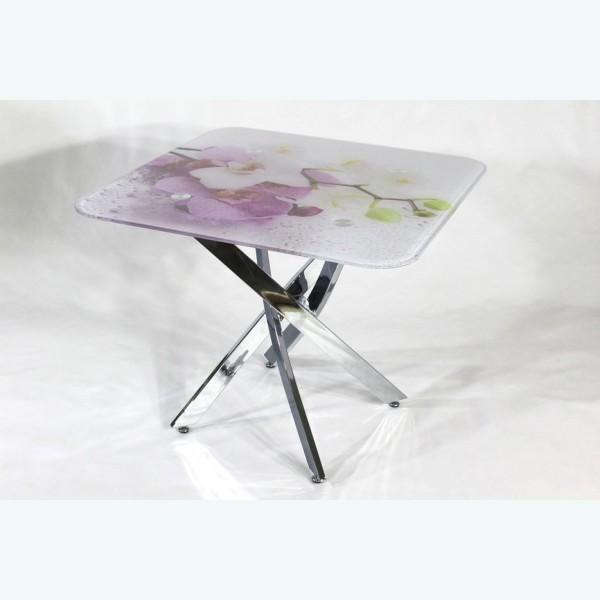 Стол обеденный Рим 10 фотопечать орхидея 1 (опоры металлокаркас хром)