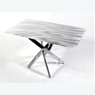 Стол обеденный Рим 10 фотопечать песок серый (опоры металлокаркас хром)