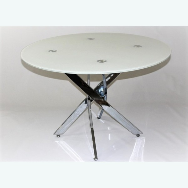 Стол обеденный Рим 18 DT17 окрас белый (опоры металлокаркас хром)