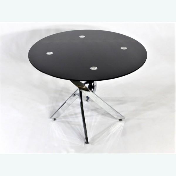 Стол обеденный Рим 18 DT17 окрас черный (опоры металлокаркас хром)