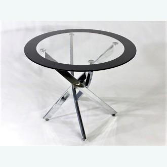 Стол обеденный Рим 18 DT17 окрас Кант 1 черный (опоры металлокаркас хром)