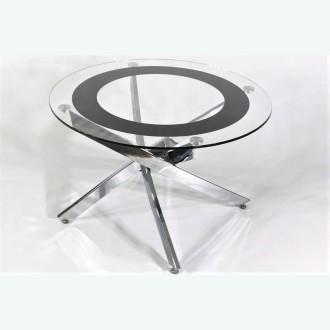Стол обеденный Рим 18 DT17 окрас Кант 2 черный (опоры металлокаркас хром)