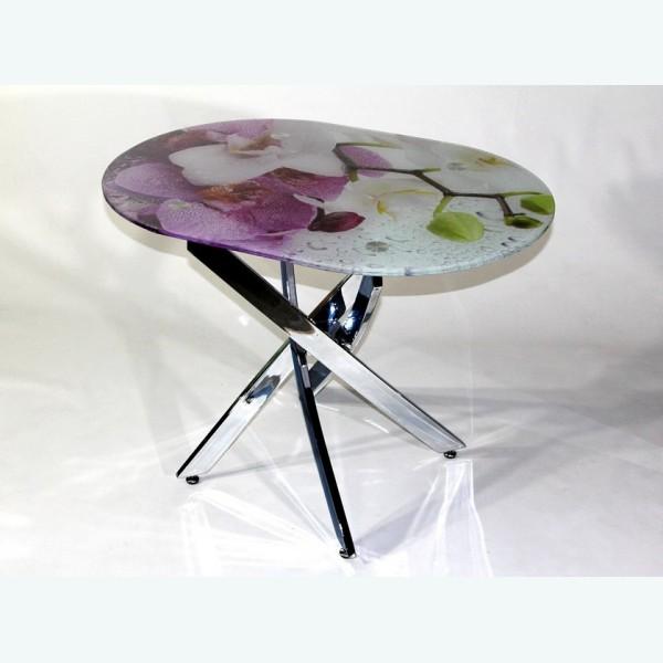 Стол обеденный Рим 23 фотопечать орхидея 1 (опоры металлокаркас)