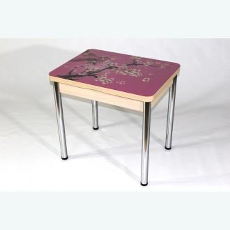 Стеклянный раздвижной стол Вероника с фотопечатью сакура