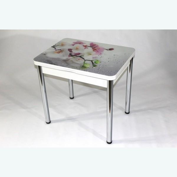 Стеклянный раздвижной стол Вероника с фотопечатью орхидея на сером