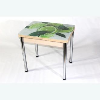 Стеклянный раздвижной стол Вероника с фотопечатью лайм