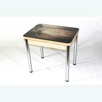 Стеклянный раздвижной стол Вероника с фотопечатью оливки
