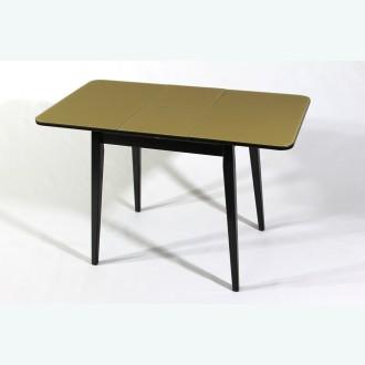Раздвижной стол из стекла Милан 10 бежевый опоры деревянные прямые