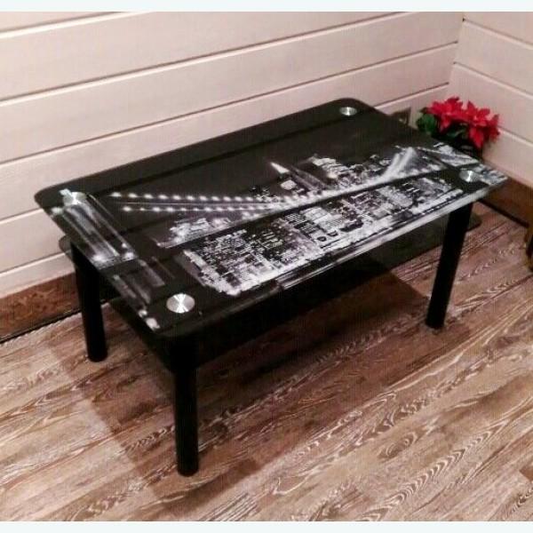 Кофейный столик Модерн 11 с фотопечатью черно-белый город
