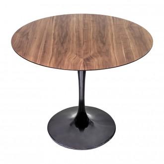Стол стеклянный обеденный Тулип МК рисунок темный орех опора черная