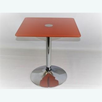 Стол стеклянный оранжевый для кухни (квадратный) -Троя К