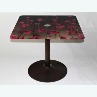 стол Троя 10 фотопечать цветы 246 каркас бронза