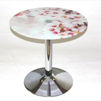 Стол обеденный стеклянный Троя 18 с рисунком розовые цветы