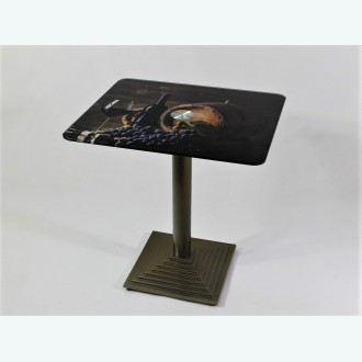 Стол Троя 10 фотопечать бочка с виноградом чугунное подстолье светлая бронза