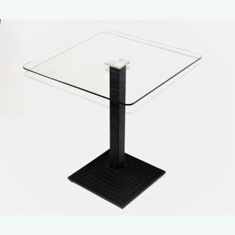 Стол обеденный Троя К прозрачный с чугунным подстольем