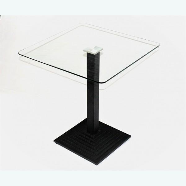 Квадратный стеклянный стол для кухни - Троя К (прозрачный)