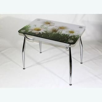стеклянный стол Вокал 10 фотопечать ромашки подстолье матовое