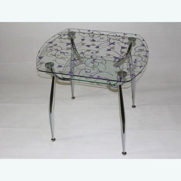 стеклянный стол Вокал 32 цветочный узор сиреневый
