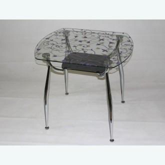 стеклянный стол Вокал 32 цветочный узор сиреневый подстолье серое