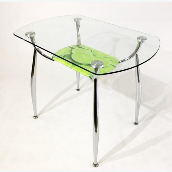 Стол обеденный Вокал 32 с риунком лайм 317 на нижнем стекле