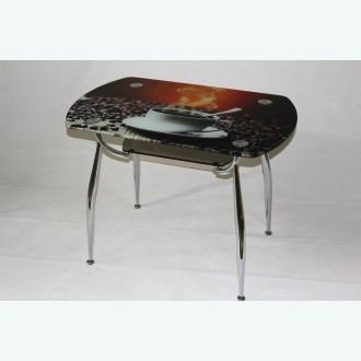 стеклянный стол Вокал 32 фотопечать кофе подстолье бронза
