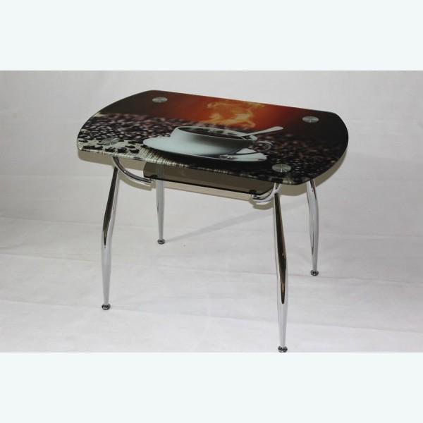 стеклянный стол С600-ВК32 фотопечать кофе подстолье бронза