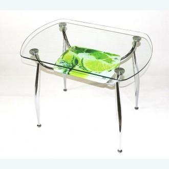 Стол обеденный Вокал 32 с риунком лайм 539 на нижнем стекле