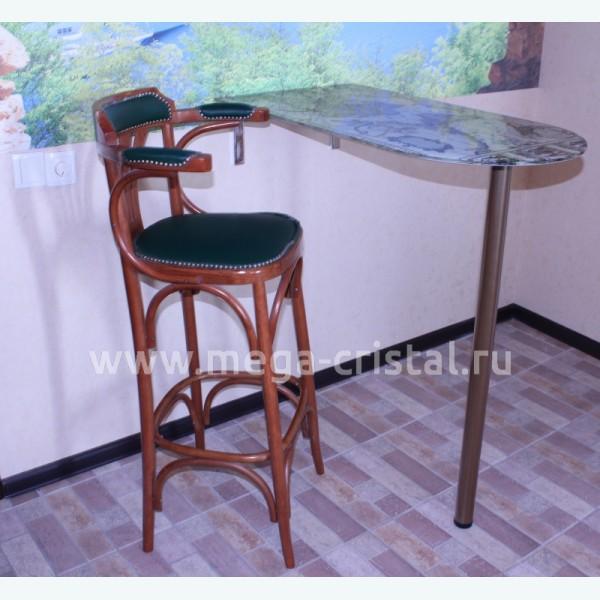 Барный стол из стекла 30/3 фотопечать карта