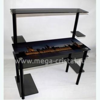 Компьютерный стол КС05/2 серый с фотопечатью