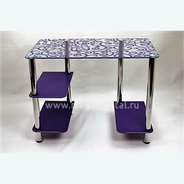 Компьютерный стол Премьер Русские узоры фиолетовые