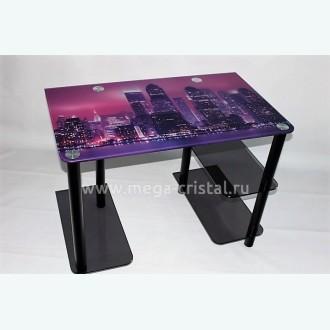 Компьютерный стол Премьер серый с фотопечатью