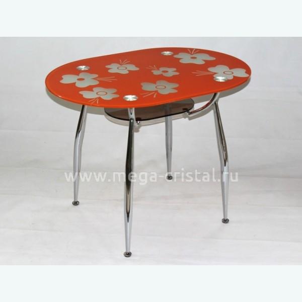 Стол обеденный Вокал 23 рисунок Кармен оранжевый подстолье бронза