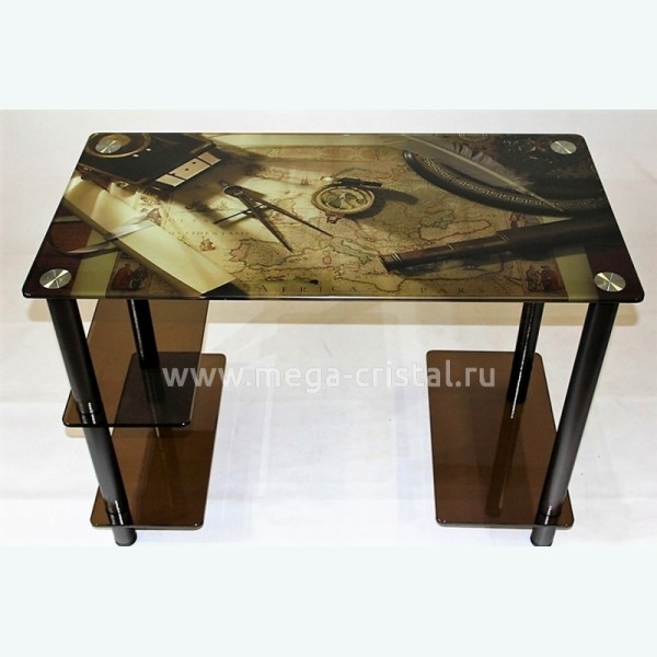 Компьютерный стол Премьер 2 бронза с фотопечатью