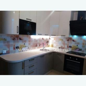 Стеклянный фартук для кухни с фотопечатью бежевая клеточка 132