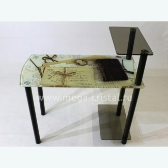 Компьютерный стол КС02 фотопечать старые письма бронза