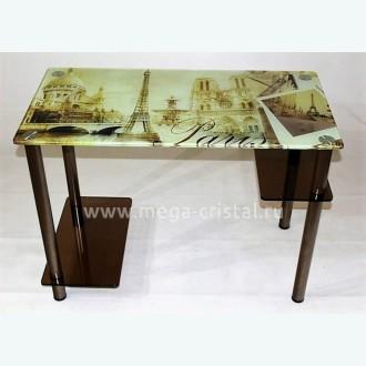 Компьютерный стол Премьер 3 бронза с фотопечатью