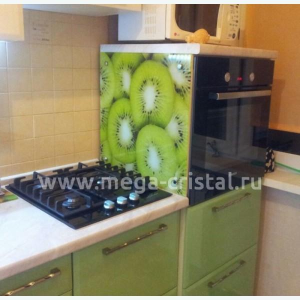 Стеклянная панель над плитой с фотопечатью киви