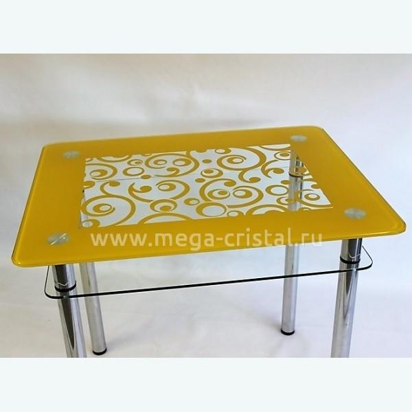 Стол обеденный Эдель 11 прозрачный рисунок с открасом