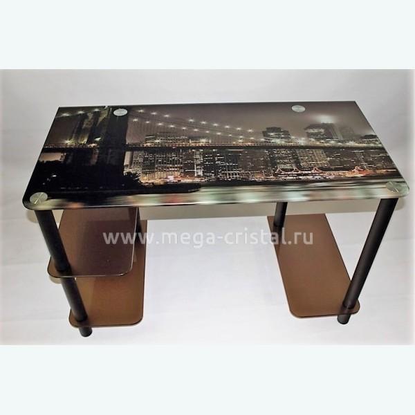 Компьютерный стол Премьер бронза с фотопечатью