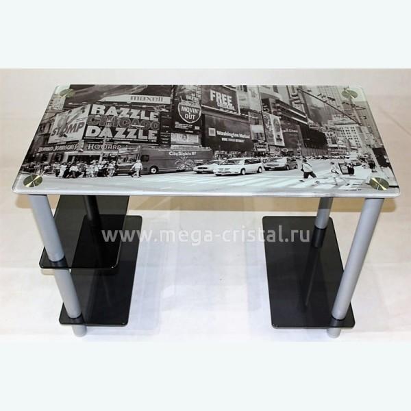 Компьютерный стол Премьер 2 серое с фотопечатью
